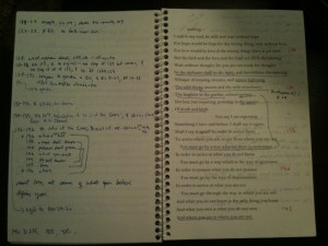 my Quartets notebook, with poem & comments beside