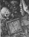 Albrecht Dürer - Monogram in Knight, Death & the Devil