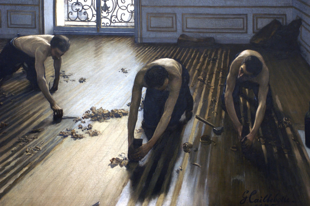 "Gustave Caillebotte, ""The Floor Strippers"" (1875)"