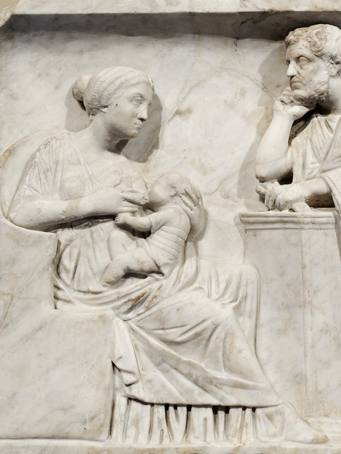 Mother breastfeeding Marcus Cornelius Statius in the Presence of His Father - from Child's Sarcophagus - c. AD 150
