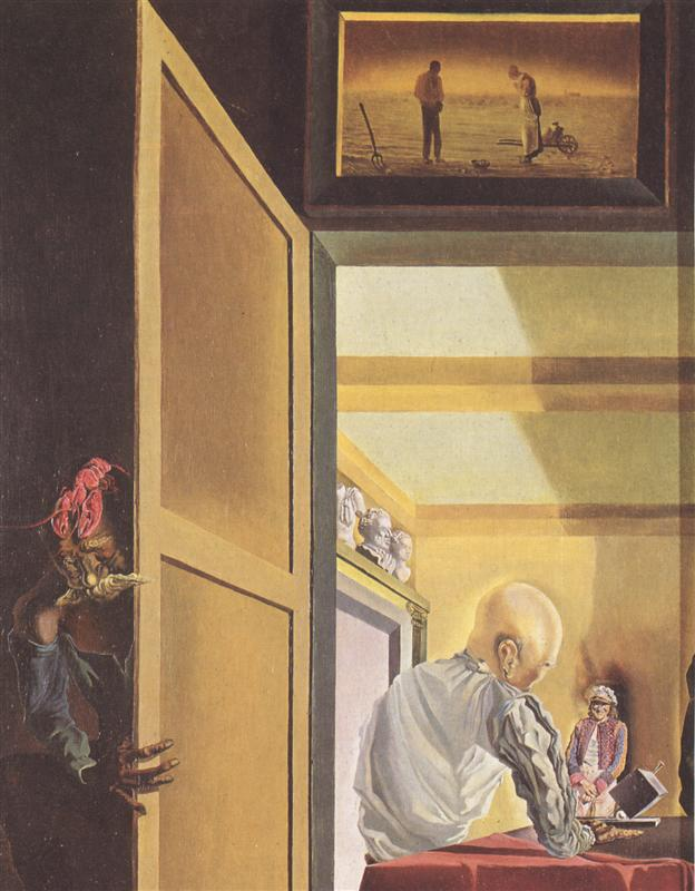 Salvador Dali - Gala and The Angelus of Millet Before the Imminent Arrival of the Conical Anamorphoses (1933)