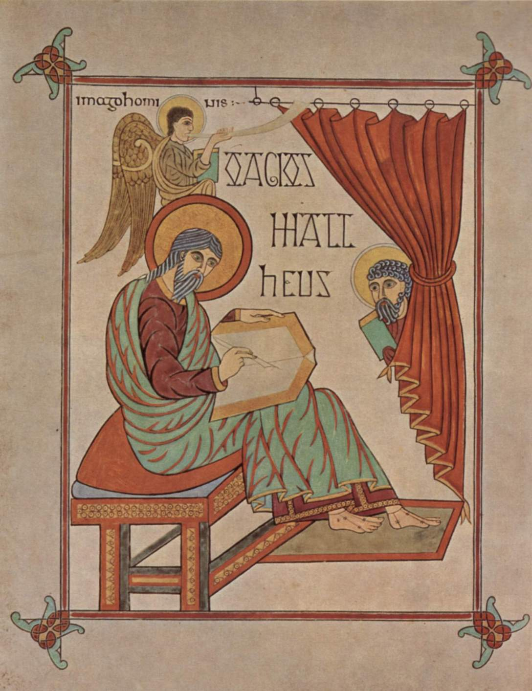 Matthew Writing His Gospel - Lindisfarne Gospel Book (c. 715-720)