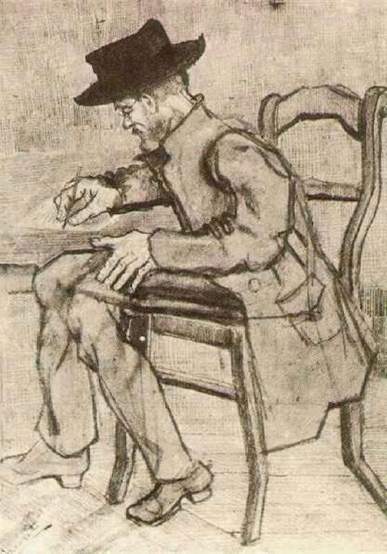 Vincent van Gogh - Man Writing Facing Left (1881)
