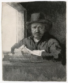 Rembrandt - Self-Portrait Drawing at a Window - 1648
