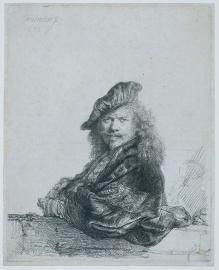 Rembrandt - Self-Portrait Leaning on Stone Ledge - 1639