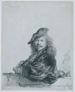 Rembrandt - Self-Portrait Leaning on Stone Ledge - 1639