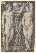 Sebald Beham (German, Nuremberg 1500–1550 Frankfurt) Adam and Eve, 1543 German, Engraving; Sheet: 3 1/8 x 2 1/8 in. (8 x 5.4 cm) The Metropolitan Museum of Art, New York, Bequest of Grace M. Pugh, 1985 (1986.1180.15) http://www.metmuseum.org/Collections/search-the-collections/415170