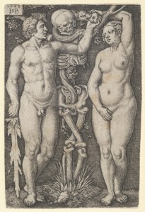 Sebald Beham (German, Nuremberg 1500–1550 Frankfurt) Adam and Eve, 1543 German, Engraving; Sheet: 3 1/8 x 2 1/8 in. (8 x 5.4 cm) The Metropolitan Museum of Art, New York, Bequest of Grace M. Pugh, 1985 (1986.1180.15) http://www.metmuseum.org/Collections/search-the-collections/415170