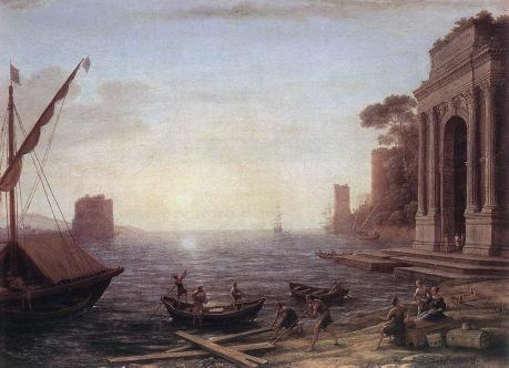 Claude Lorrain - A Seaport at Sunrise - 1674