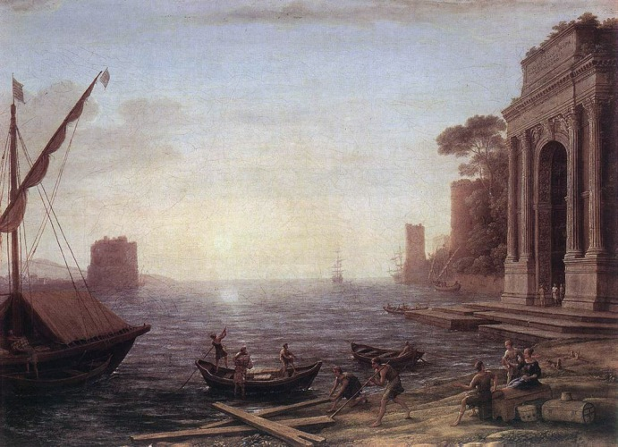 Claude Lorrain - A Seaport at Sunrise - 1674