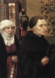 Merode Altarpiece - Left Panel Detail of Donors, & Artist in Background