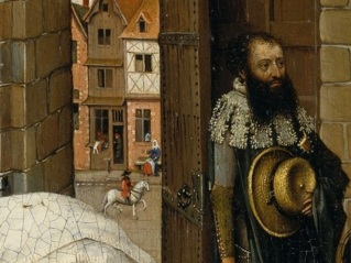 Merode Altarpiece - Left Panel Detail, Possibly of Artist, & Street Scene