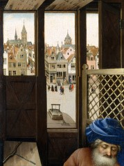 Merode Altarpiece - Right Panel Detail of Liege Street Scene