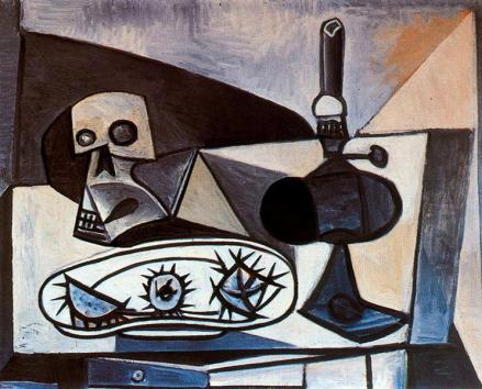 Picasso - Skull, urchins and lamp on a table - 1943