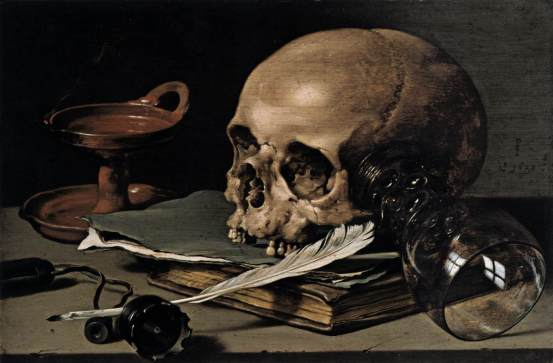 Pieter Cleasz - Still Life Skull & Writing Quill - 1628