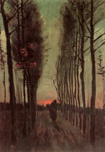 Van Gogh - Avenue of Poplars at Sunset (2) - 1884