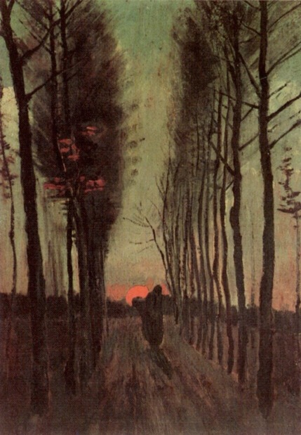 Van Gogh - Avenue of Poplars at Sunset (2) - 1884