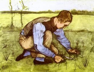 Van Gogh - Boy Cutting Grass with a Sickle - 1881