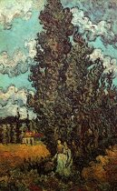 Van Gogh - Cypresses & Two Women - 1890