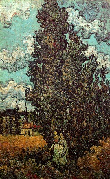 Van Gogh - Cypresses & Two Women - 1890