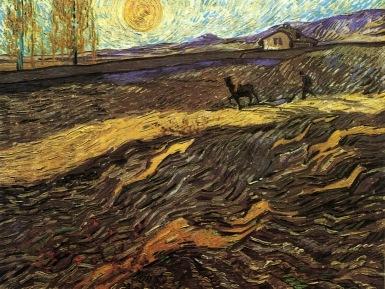 Van Gogh - Enclosed Field with Ploughman - 1889