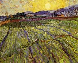 Van Gogh - Enclosed field with Rising Sun - 1889