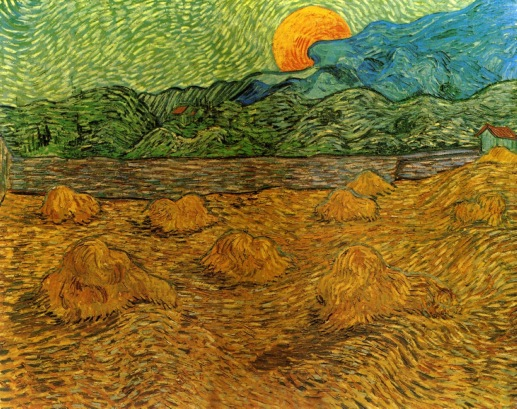Van Gogh - Evening Landscape with Rising Moon - 1889