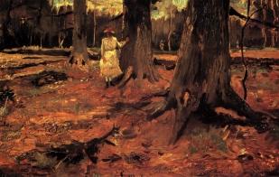 Van Gogh - Girl in White in the Woods - 1882