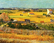 Van Gogh - Harvest at La Crau, with Montmajour in the Background - 1888