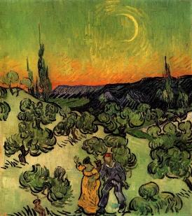 Van Gogh - Landscape with Couple Walking & Crescent Moon - 1890
