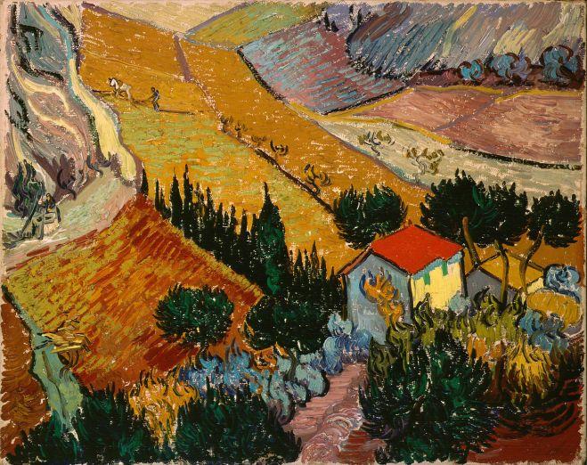 Van Gogh - Landscape with House & Ploughman - 1889