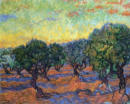 Van Gogh - Olive Grove, Orange Sky - 1889