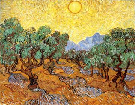 Van Gogh - Olive Trees with Yellow Sky and Sun - 1889