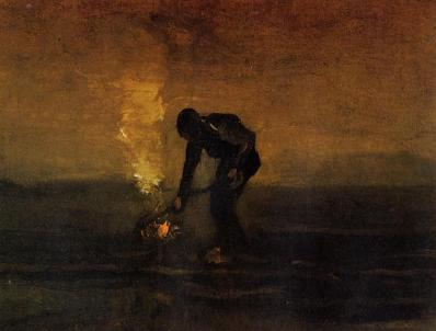 Van Gogh - Peasant Burning Weeds - 1883