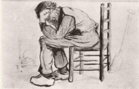 Van Gogh - Peasant Sitting by the Fireplace (Worn Out) - 1881