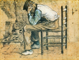 Van Gogh - Peasant Sitting by the Fireplace (Worn Out) (2) - 1881