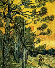 Van Gogh - Pine Trees Against a Red Sky with Setting Sun - 1889