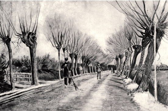 Van Gogh - Road with Pollard Willows and Man with Broom - 1881