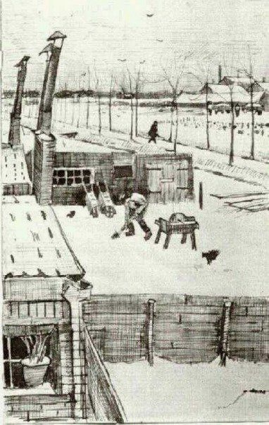 Van Gogh - Snowy Yard - 1883