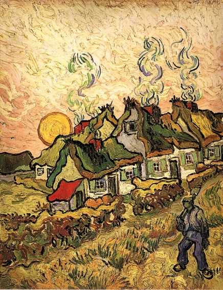 Van Gogh - Thatched Cottages in the Sunshine (Reminiscence of the North) - 1890