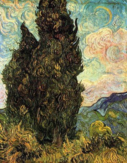 Van Gogh - Two Cypresses - 1889