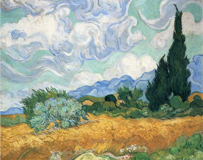 Van Gogh - Wheat Field with Cypress Tree - 1889
