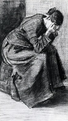 Van Gogh - Woman Sitting on a Basket with Head in Hands - 1883