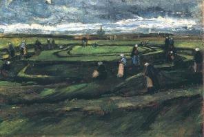 Van Gogh - Women Mending Nets in the Dunes - 1882