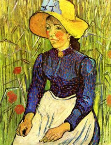 Van Gogh - Young Peasant Girl in a Straw Hat sitting in front of a wheatfield - 1890
