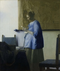 Vermeer - Woman reading a letter (Woman in Blue Reading a Letter) - 1663