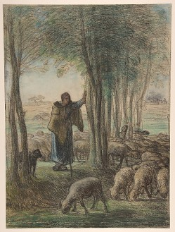 Millet - A Shepherdess and Her Flock in the Shade of Trees - 1855