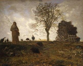 Millet - Autumn landscape with a flock of Turkeys - 1873