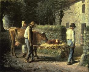 Millet - Peasants Bringing Home a Calf Born in the Fields - 1864