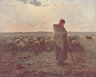 Millet - Shepherdess with Her Flock - 1863